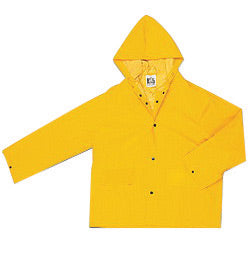 MCR Safety® Yellow Classic .35 mm Polyester And PVC Jacket With Attached Hood
