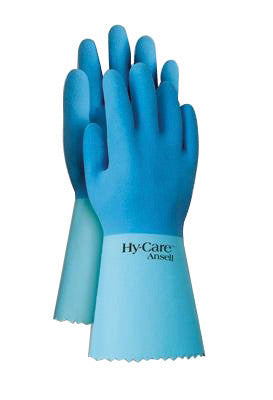 "Ansell Size 10 Blue Hy-Care™ 12"" Knit Lined 15 mil Natural Rubber Latex Fully Coated Chemical Resistant Gloves With Crinkle Finish And Pinked Cuff (72 Pair Per Case)"