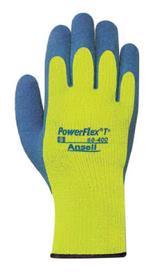 Ansell Size 9 Blue And Hi-Viz Yellow PowerFlex® T Thermal Terry Cloth Lined Cold Weather Gloves With Knit Wrist And Natural Rubber Latex Coated Palm