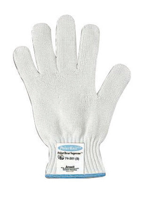 Ansell Size 7 White Polar Bear® Supreme Heavy Duty Cut Resistant Gloves With Knit Wrist And Stainless Steel Synthetic Fiber Lined