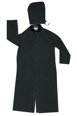 "MCR Safety® Size 4X Black 60"" Classic .35 mm Polyester And PVC 2-Piece Coat With Detachable Hood And Corduroy Collar"