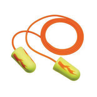 3M Single Use E-A-Rsoft Yellow Neons Blasts Tapered Polyurethane Foam Corded Earplugs With Vinyl Cord (1 Pair Per Poly Bag