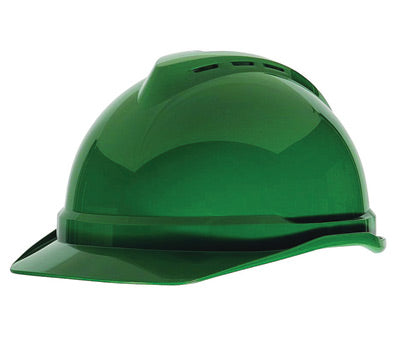 MSA Green Polyethylene Cap Style Hard Hat With 4 Point Ratchet Suspension