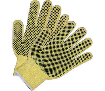 Memphis Glove Small Brown And Yellow Plaited Dotted Style 7 gauge Economy Weight Kevlar® And Cotton Cut Resistant Gloves With Knit Wrist, PVC Dots On Both Sides Coating