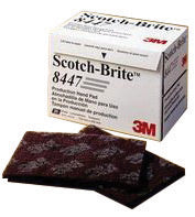"3M 6"" X 9"" Very Fine Grade Aluminum Oxide Scotch-Brite 8447 Maroon Production Non-Woven Hand Pad"