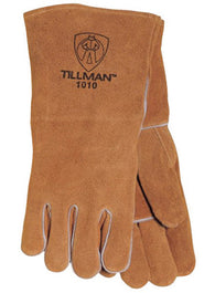 "Tillman™ Large 14"" Russet Brown Select Shoulder Split Cowhide Cotton Lined Standard Grade Left Hand Only Stick Welders Glove With Reinforced Straight Thumb, Welted Finger And Kevlar® Lock Stitching"