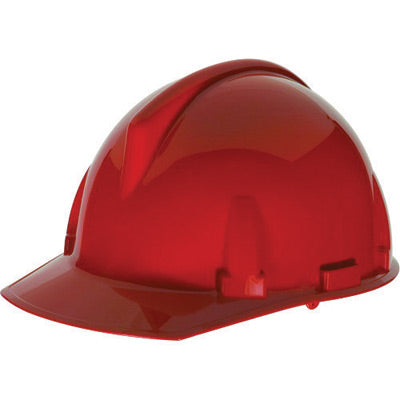 MSA Red Polycarbonate Cap Style Hard Hat With 4 Point Ratchet Suspension