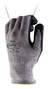 Ansell Size 10 HyFlex® 11-435 13 Gauge Medium Weight Cut And Abrasion Resistant Dark Gray Water Based Polyurethane Palm Coated Work Gloves With Gray Dyneema®