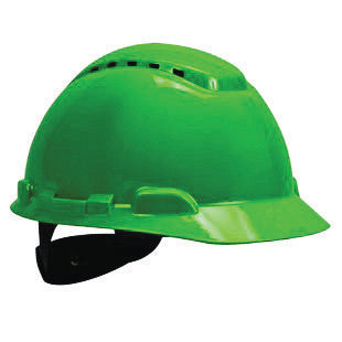 3M Green HDPE Cap Style Hard Hat With 4 Point Ratchet Suspension