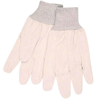 Memphis™ Large 8 Ounce Natural Cotton Canvas Clute Back Uncoated Work Gloves With Knit Wrist And Straight Thumb
