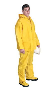 Radnor® 5X Yellow .32 mm Polyester And PVC 3 Piece Rain Suit (Includes Jacket With Front Snap Closure