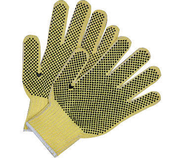 Memphis Small 7 Gauge Cut Resistant Brown PVC Palm Coated Work Gloves With Kevlar® Cotton Liner And Knit Wrist