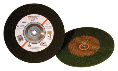 "3M 9"" X 1/4"" X 5/8"" - 11 Green Corps Cubitron 24 Grit Ceramic Type 27 Depressed Center Grinding Wheel"