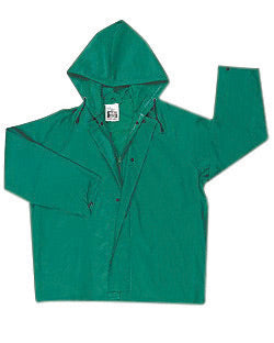MCR Safety® Green Dominator .42 mm Polyester And PVC Jacket With Attached Hood