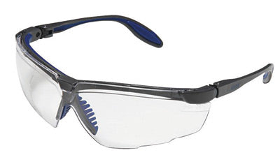 Uvex® by Honeywell Genesis X2® Safety Glasses With Silver And Navy Polycarbonate Frame And Clear Polycarbonate Ultra-dura® Anti-Scratch Hard Coat Lens
