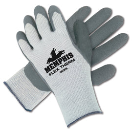 Memphis Glove Large Gray FlexTherm® Acrylic, Cotton And Polyester Cold Weather Gloves With Knit Wrist And Gray Latex Palm Coating