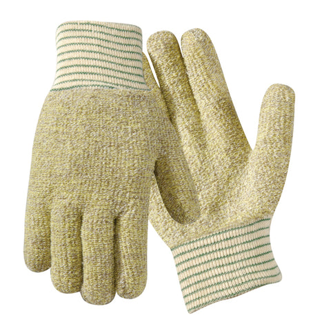 "Wells Lamont Jomac® Large 10"" Yellow/Brown Medium Weight Kevlar/Cotton Heat Resistant Gloves With 2"" Knit Wrist Cuff And Full Thumb"