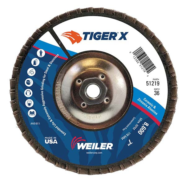 Weiler® TIGer® X 7 X 5/8 - 11 36 Grit Type 29 Flap Disc