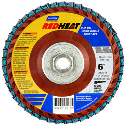 "Norton® Red Heat® 6"" X 5/8"" - 11 60 Grit Type 27 Flat Flap Disc"
