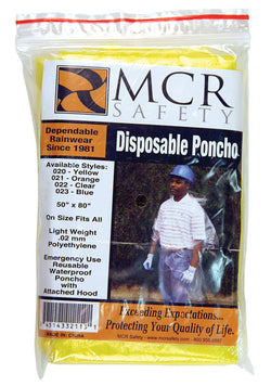 "MCR Safety® Yellow 52"" Schooner .02 mm Polyethylene Poncho With Attached Hood"
