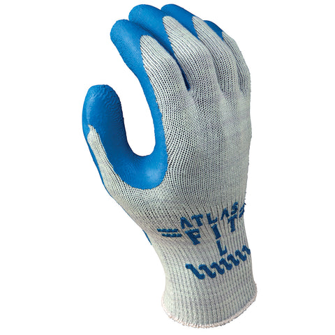 SHOWA® Size 10 ATLAS® 10 Gauge Blue Natural Rubber Work Gloves With Cotton Liner And Knit Wrist
