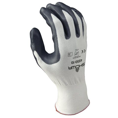 SHOWA® Size 9 15 Gauge Gray Nitrile Work Gloves With Nylon Liner And Knit Wrist