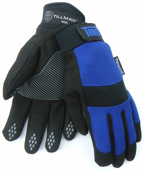 Tillman Medium Black And Blue TrueFit Synthetic Leather Full Finger Mechanics Gloves