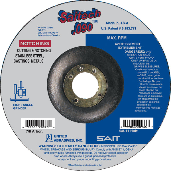 "United Abrasives 4 1/2"" X .090"" X 7/8"" Saitech Ultimate Performance Ceramic Aluminum Oxide Type 27 Cut Off Wheel"