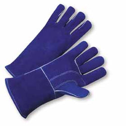 "West Chester One Size Fits Most 14"" Blue Premium Split Cowhide Cotton Lined Stick Welders Gloves"