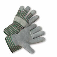 West Chester Large Select Split Leather Palm Gloves With Canvas Back And Rubberized Safety Cuff