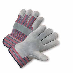 West Chester Large Standard Split Leather Palm Gloves With Canvas Back And Rubberized Safety Cuff