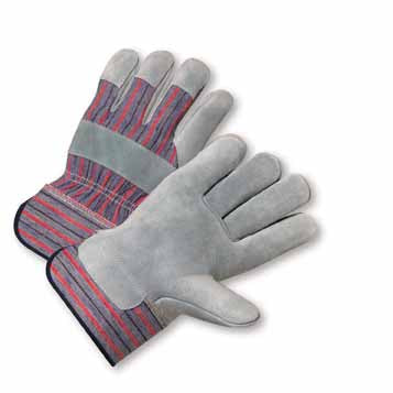 PIP® Large Standard Split Leather Palm Gloves With Canvas Back And Rubberized Safety Cuff