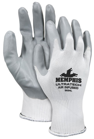 MCR Safety X-Large UltraTech® Air Infused® 15 Gauge Gray Air Infused Nitrile Palm And Finger Tip Coated Work Gloves With White Nylon Liner And Knit Wrist