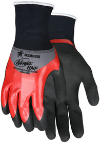 MCR Safety Large Ninja® 18 Gauge Red And Black Breathable Foam Nitrile Knuckle Coated Work Gloves With Gray Nylon/Spandex Liner And Knit Wrist