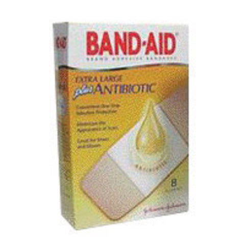 "Johnson & Johnson 1 3/4"" X 4"" Band-Aid® Plus Antibiotic Strip Adhesive Bandage"