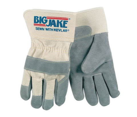 "Memphis Glove Large Gray Big Jake® Gunn Premium Grade Split Cowhide Cut Resistant Gloves With 2 3/4"" Rubberized Safety Cuff, Non-Woven Kevlar® Lining, Cotton Canvas Back And Wing Thumb"