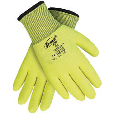 Memphis Glove Large Hi-Viz Yellow Ninja® ICE 7 Gauge Acrylic Terry Lined General Purpose Cold Weather Gloves With Knit Wrist  15 Gauge Nylon Shell  HPT Coated Palm  Fingertips And Knuckle Coated-Price is per 1 Pair