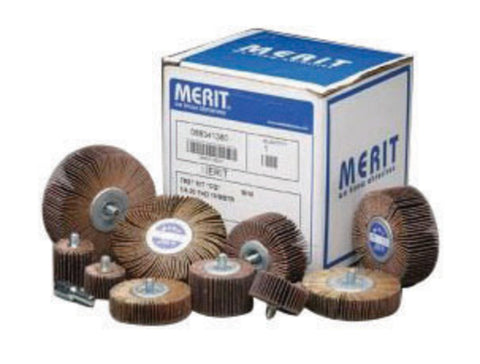 "Merit® 3"" X 1"" X 1/4"" - 20 120 Grit Ceramic Alumina Mini Grind-O-Flex High Performance XX-3010 Quick Change Flange Mounted Flap Wheel   -Price is per 10 Each"