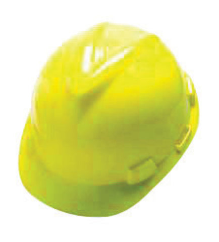 MSA Yellow V-Gard® Polyethylene Cap Style Hard Hat With 4 Point Ratchet/Ratchet Suspension   -Price is per 1 Each