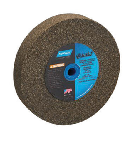 "Norton® 5"" X 3/4"" X 1"" 60/80 Grit Medium Aluminum Oxide Gemini® Alundum® Type 1 Bench And Pedestal Wheel   -Price is per 1 Each"