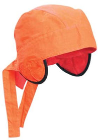 OccuNomix Hi-Viz Orange Hot Nougies Tie Hat With Plush Polyester Fleece Lining, Ear Flaps That Fold Under And Pockets For Warming Packs