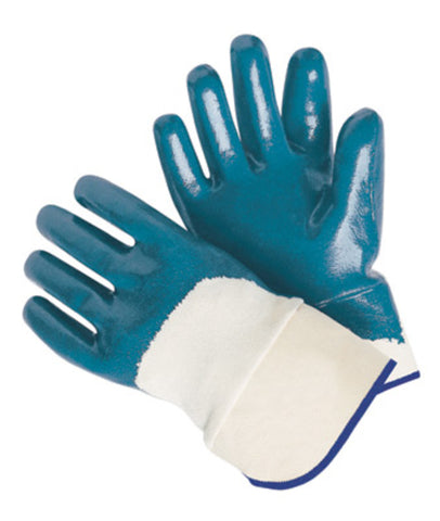 RADNOR® Large Blue Nitrile Three-Quarter Coated Work Gloves With Natural Jersey Liner And Safety Cuff