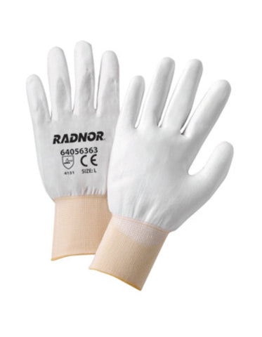RADNOR® X-Large 13 Gauge White Polyurethane Palm And Finger Coated Work Gloves With White Nylon Liner And Knit Wrist   -Price is per 1 Pair