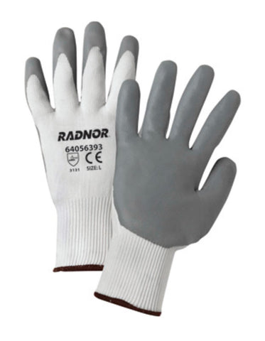 RADNOR® Small 15 Gauge Gray Nitrile Palm And Finger Coated Work Gloves With White Nylon Liner And Knit Wrist   -Price is per 1 Pair