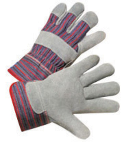 RADNOR® Small Economy Grade Split Leather Palm Gloves With Canvas Back And Safety Cuff