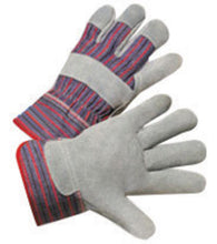 RADNOR® Medium Economy Grade Split Leather Palm Gloves With Canvas Back And Safety Cuff   -Price is per 1 Pair