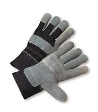 RADNOR Large Split Leather Palm Gloves With Denim Back And Safety Cuff