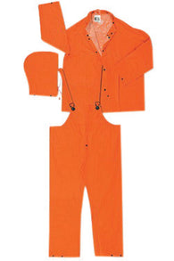 MCR Safety® Orange Classic Plus .35 mm Polyester And PVC 3-Piece Rain Suit With Detachable Hood  Bib Pants And Corduroy Collar-Price is per 10 Each