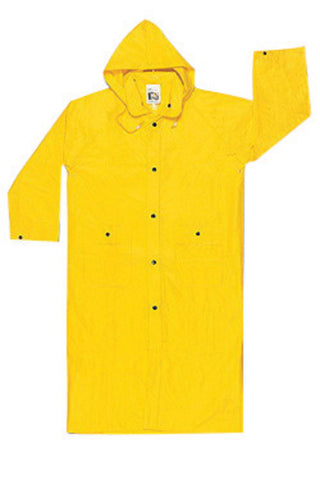 "MCR Safety® Size 2X Yellow 49"" Wizard .28 mm Nylon And PVC 2-Piece Coat With Detachable Hood"