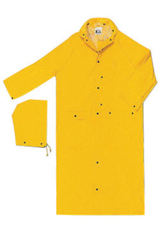 "MCR Safety® Size 2X Yellow 60"" Wizard .28 mm Nylon And PVC 2-Piece Coat With Detachable Hood"